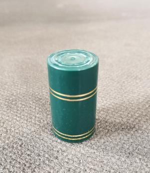 Колпачок полимерный Гуала 59мм, золотые кольца, зеленый